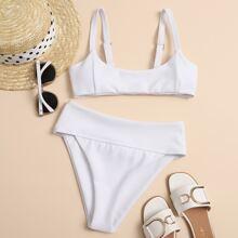 Geripptr Bikini Badeanzug mit hoher Taille