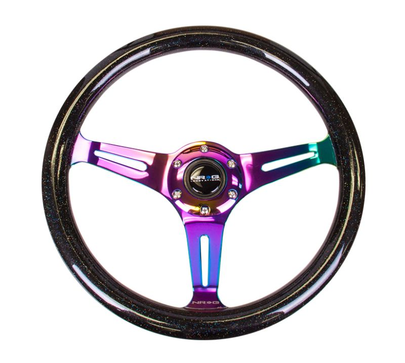 NRG ST-015MC-BSB Classic Wood Grain Galaxy Edition Steering Wheel 350mm Neochrome 3-Spokes Black Sparkled
