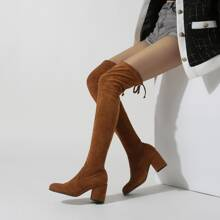 Chunky Heeled Suede Boots