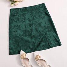 Satin Jacquard Split Hem Skirt