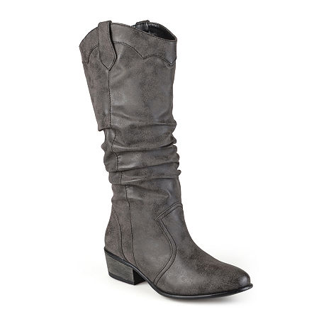 Journee Collection Womens Drover Wide Calf Slouch Riding Boots, 7 Medium, Black