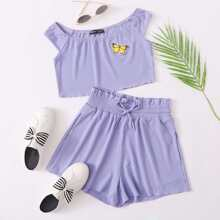 Butterfly Patch Rib-knit Top & Tie Waist Shorts Set