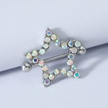 1pc Rhinestone Decor Nipple Ring