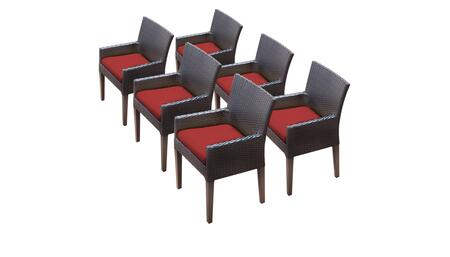 Barbados Collection BARBADOS-TKC097b-DC-3x-C-TERRACOTTA 6 Dining Chairs With Arms - Wheat and Terracotta