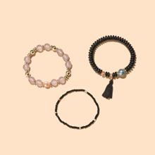 3pcs Tassel Charm Beaded Bracelet