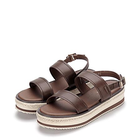 Yoins Burgundy Leather Look Double Straps Pin Buckle Closure Platform Sandals