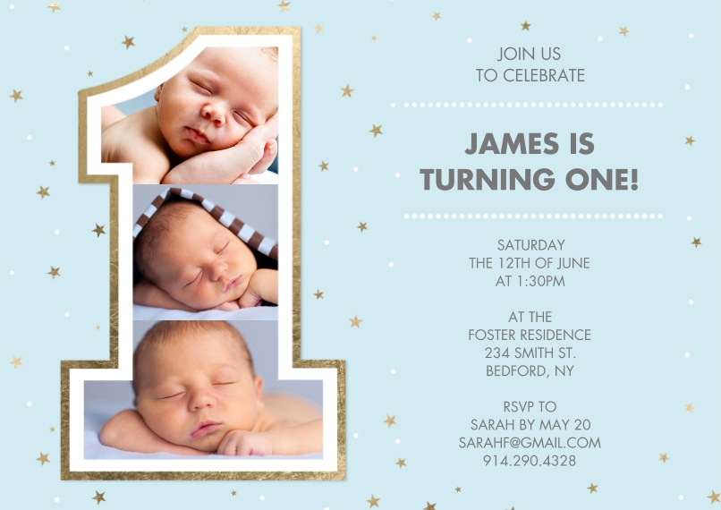 1st Birthday Invitations 5x7 Cards, Premium Cardstock 120lb with Scalloped Corners, Card & Stationery -Birthday One Gold Blue