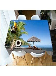 Green Palm Trees and Leisure Benches on the Wonderful Beach 3D Table Cloth