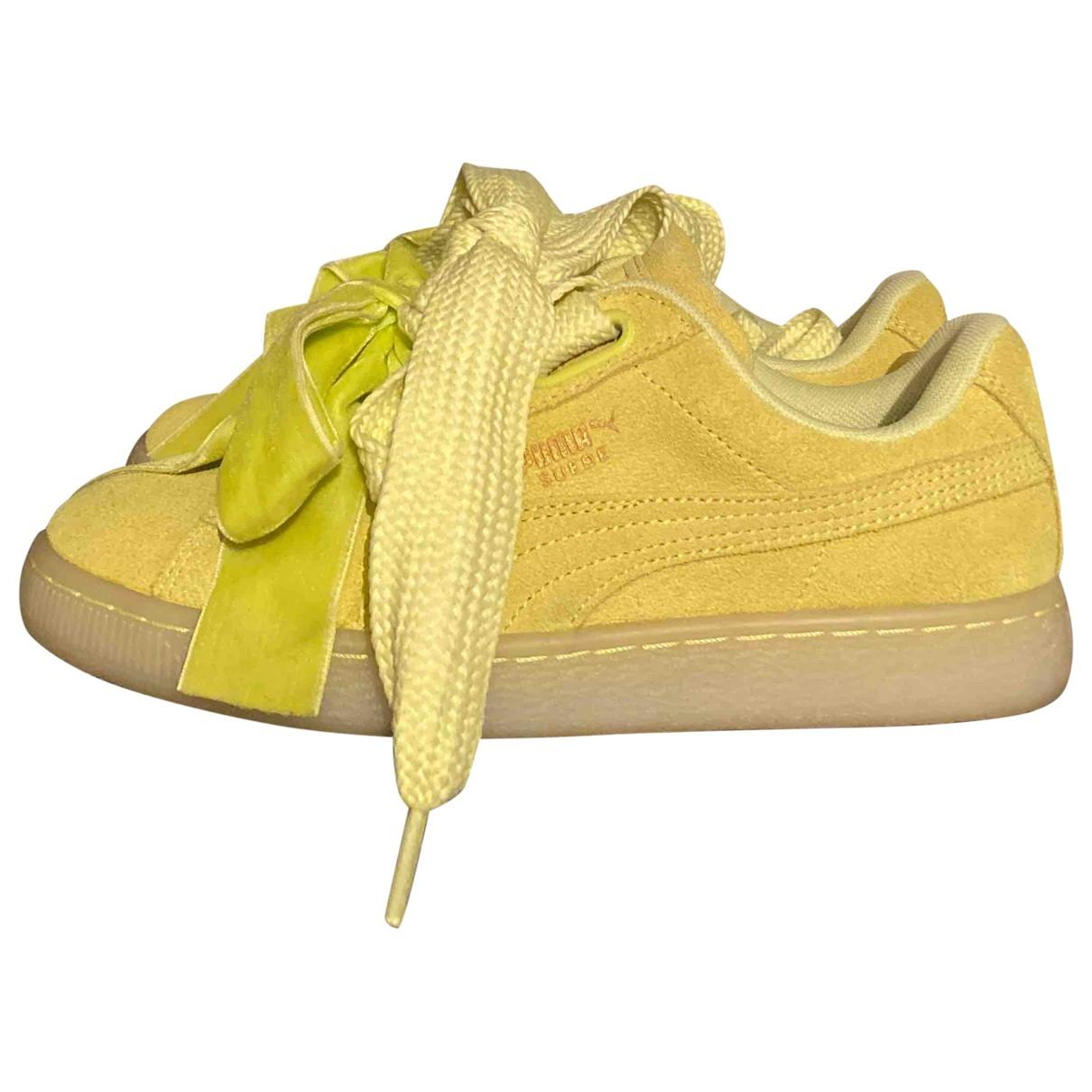 Puma - Baskets   pour femme en suede - jaune
