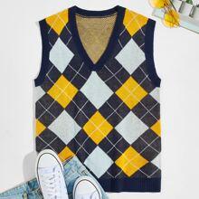 Guys Argyle Pattern Sweater Vest