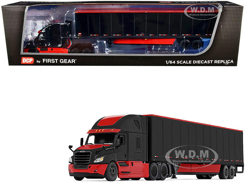 2018 Freightliner Cascadia High-Roof Sleeper Cab with 52 Wabash DuraPlate Trailer with Skirts Black and Red 1/64 Diecast Model by DCP/First Gear