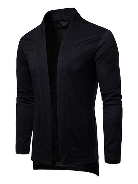 Milanoo Men Cardigan Coat High Low Long Sleeve Casual Jacket