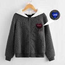 Texturierte Jacke mit Reissverschluss, Pailletten, Herzen Muster und Kontrast Kapuze