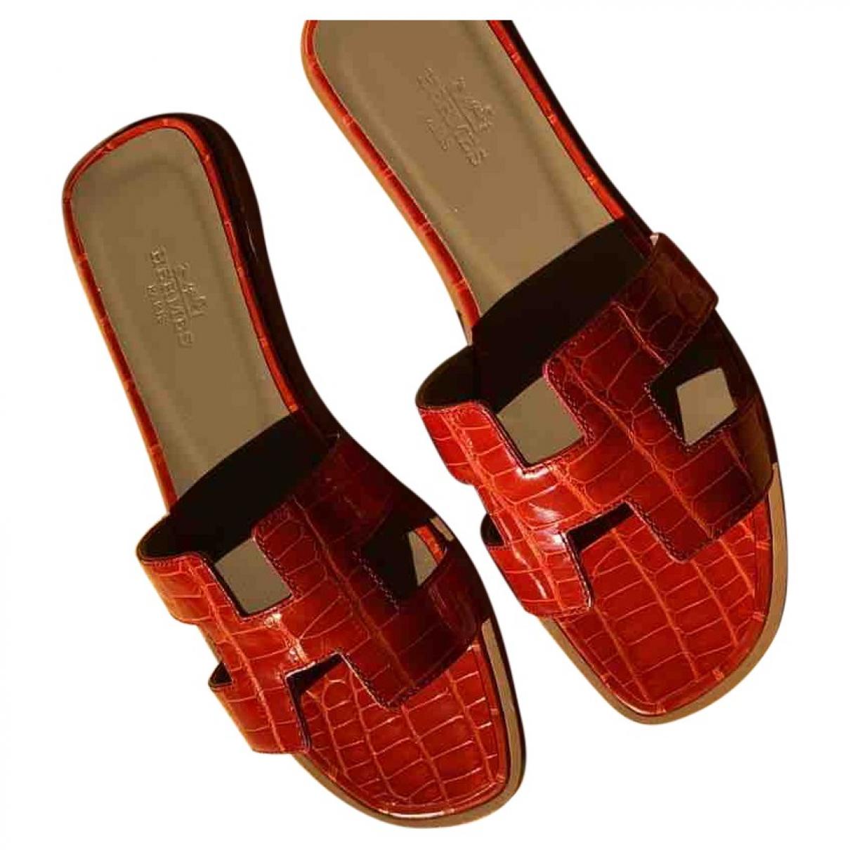 Hermès Oran Red Crocodile Sandals for Women 35 EU