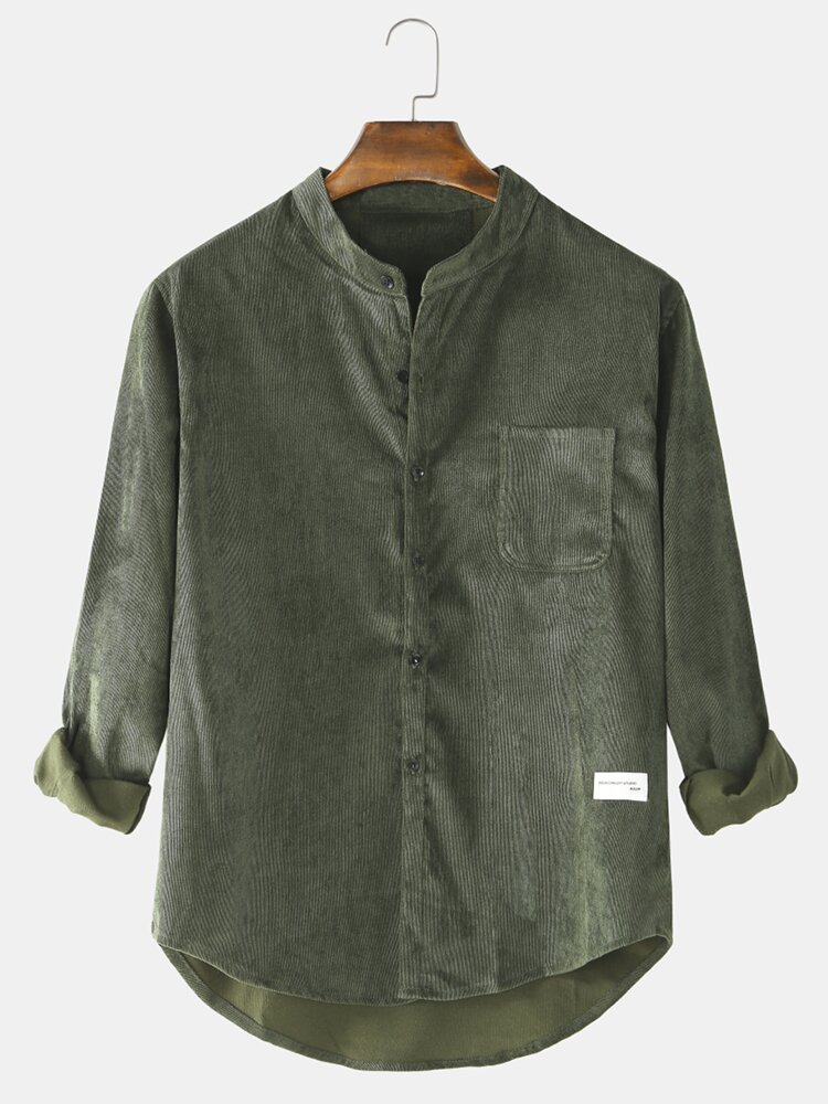 Mens Cotton Vintage Solid Color Casual Fit Stand Collar Long Sleeve Shirts With Pocket