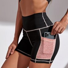 Contrast Topstitching Sports Shorts With Phone Pocket