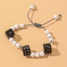 Dice & Bead Decor String Bracelet