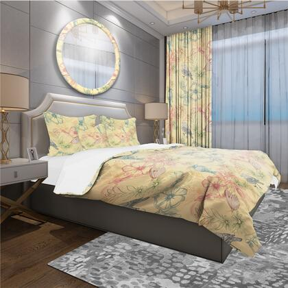 BED18765-T Designart 'Spring Pattern With Butterflies On Flowers' Modern & Contemporary Duvet Cover