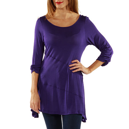 24/7 Comfort Apparel 3/4 Merrow Stitch Womens Tunic Top, 1x , Purple