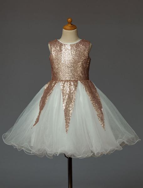 Milanoo Vestido de damitas con escote redondo y lentejuela