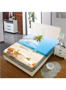 Leisurely Summer Beach Reactive Printing 1-Piece Polyester Bed Cover / Mattress Cover