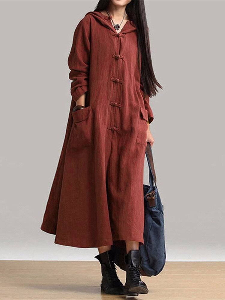 Vintage Frog Button Long Sleeve Hooded Midi Coat Dress