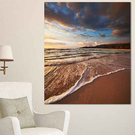 Designart Cloudy Sky Over Wide Seashore Large Seashore Canvas Print, One Size , White