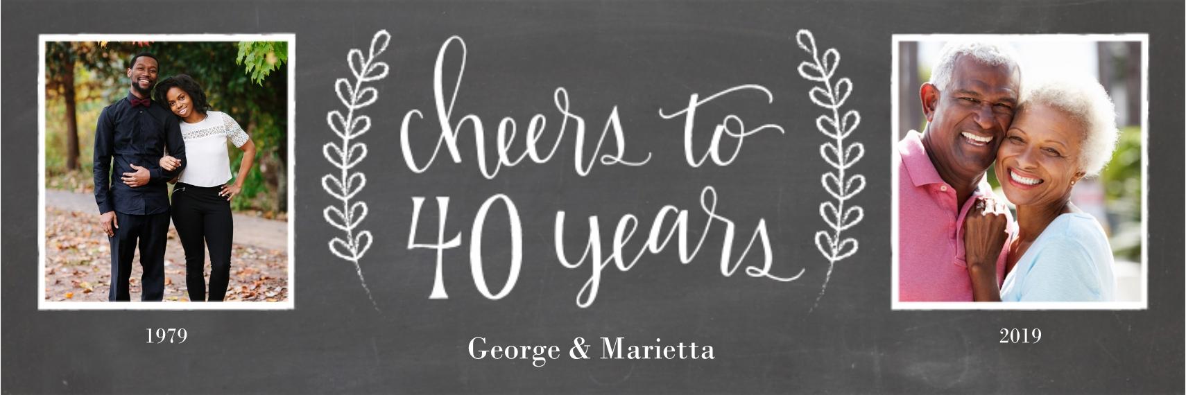 Anniversary Photo Banner 1x3, Home Décor -Chalkboard Anniversary