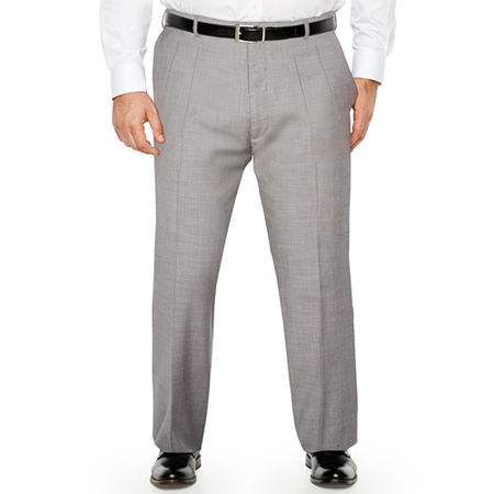 Stafford - Big and Tall Classic Fit Pleated Pant, 46 32, Gray