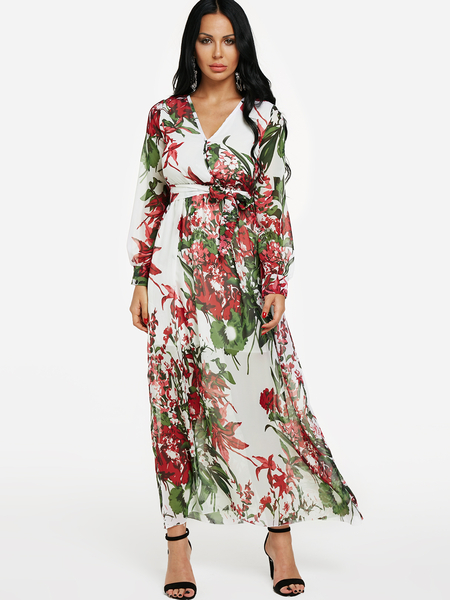 Yoins Floral Long Sleeves Wrap Maxi Dress in White