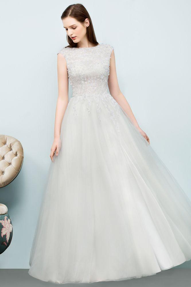 SPRING   A-line Sleeveless Long Split Appliqued Tulle Prom Dresses