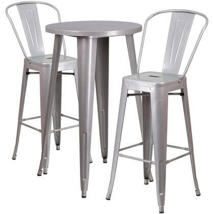 CH51080BH Collection CH-51080BH-2-30CAFE-SIL-GG Indoor-Outdoor Bar Table Set with 2 Cafe Stools  Round Table Top  Footrest Support  Protective Floor