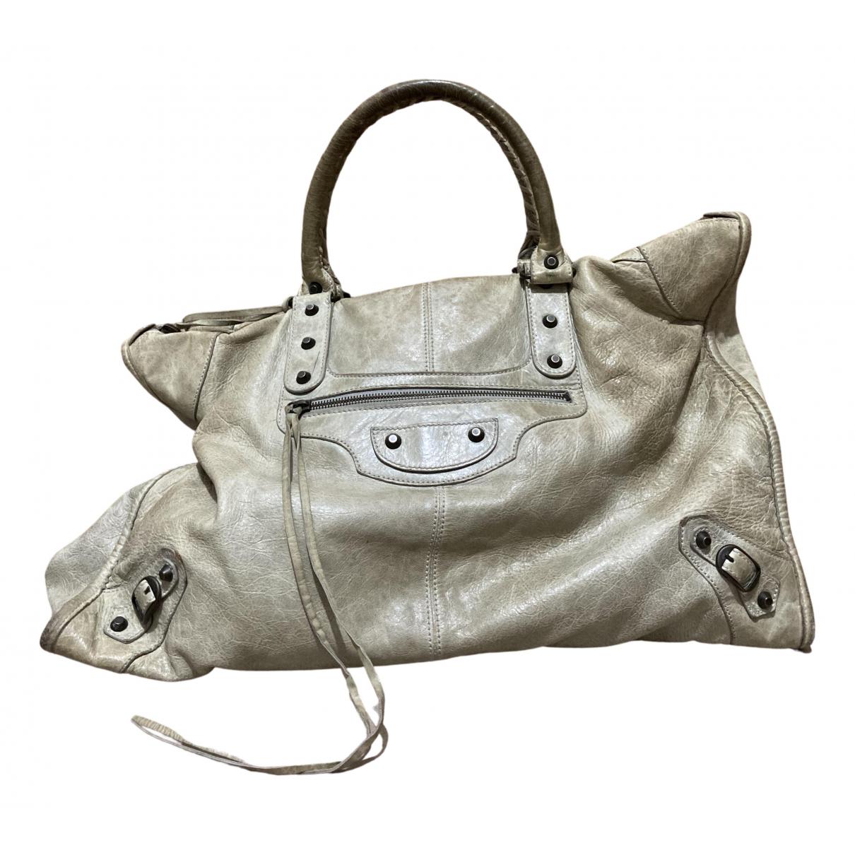 Balenciaga Weekender Beige Leather handbag for Women N