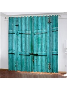 3D Rustic Turquoise Wooden Barn Door Print Blackout and Decorative Curtains Made of 200g/㎡ Heat Insulation and Water-proof Polyester Machine Washable