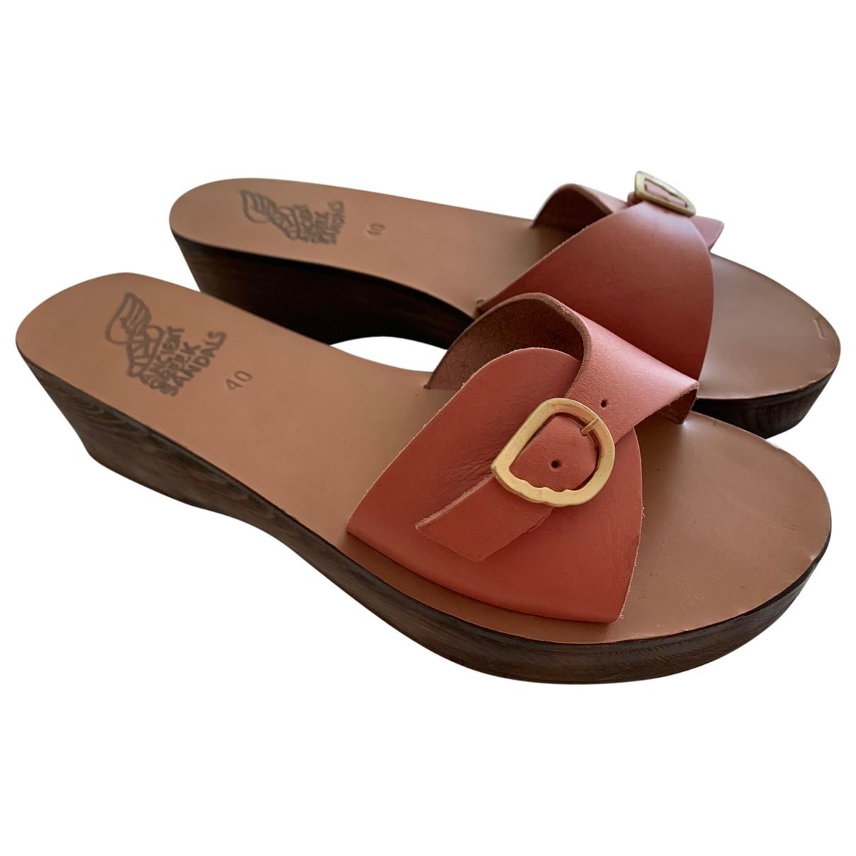 Ancient Greek Sandals - Sabots   pour femme en cuir - rose