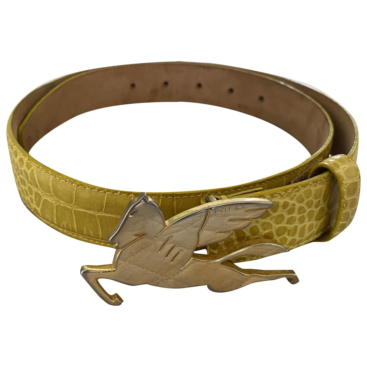 Etro \N Yellow Leather belt for Women 80 cm