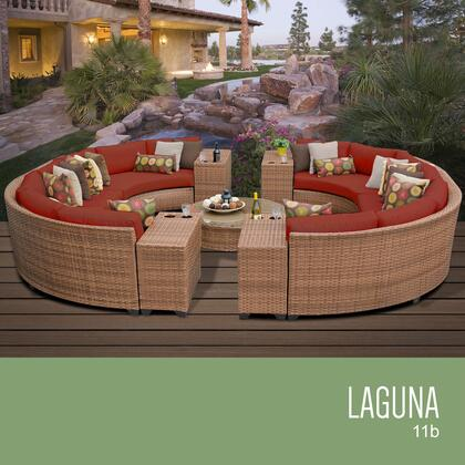 LAGUNA-11b-TERRACOTTA Laguna 11 Piece Outdoor Wicker Patio Furniture Set 11b with 2 Covers: Wheat and