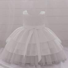 Toddler Girls Bow Cut Out Back Layered Hem Gown Dress