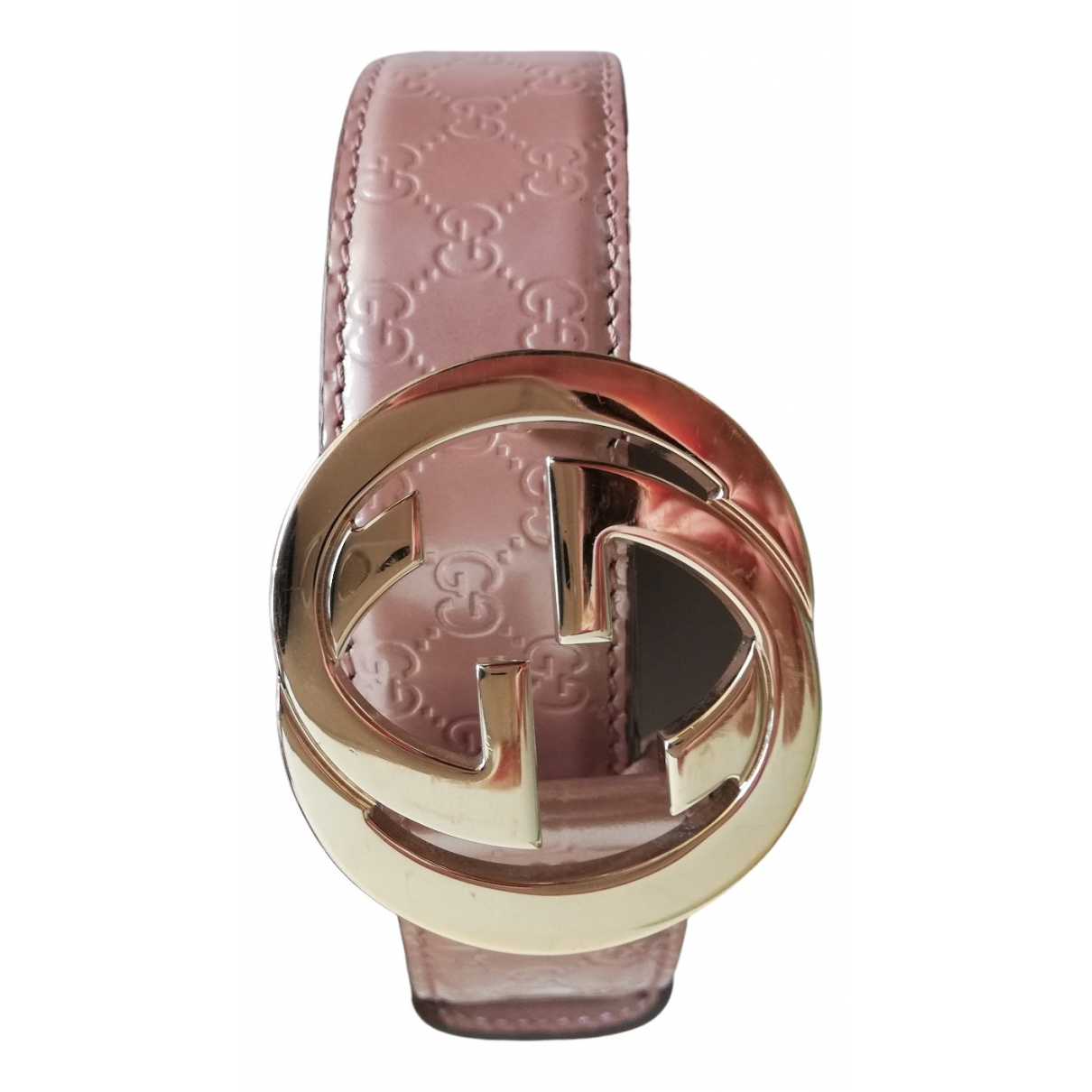 Gucci Interlocking Buckle Pink Patent leather belt for Women 95 cm