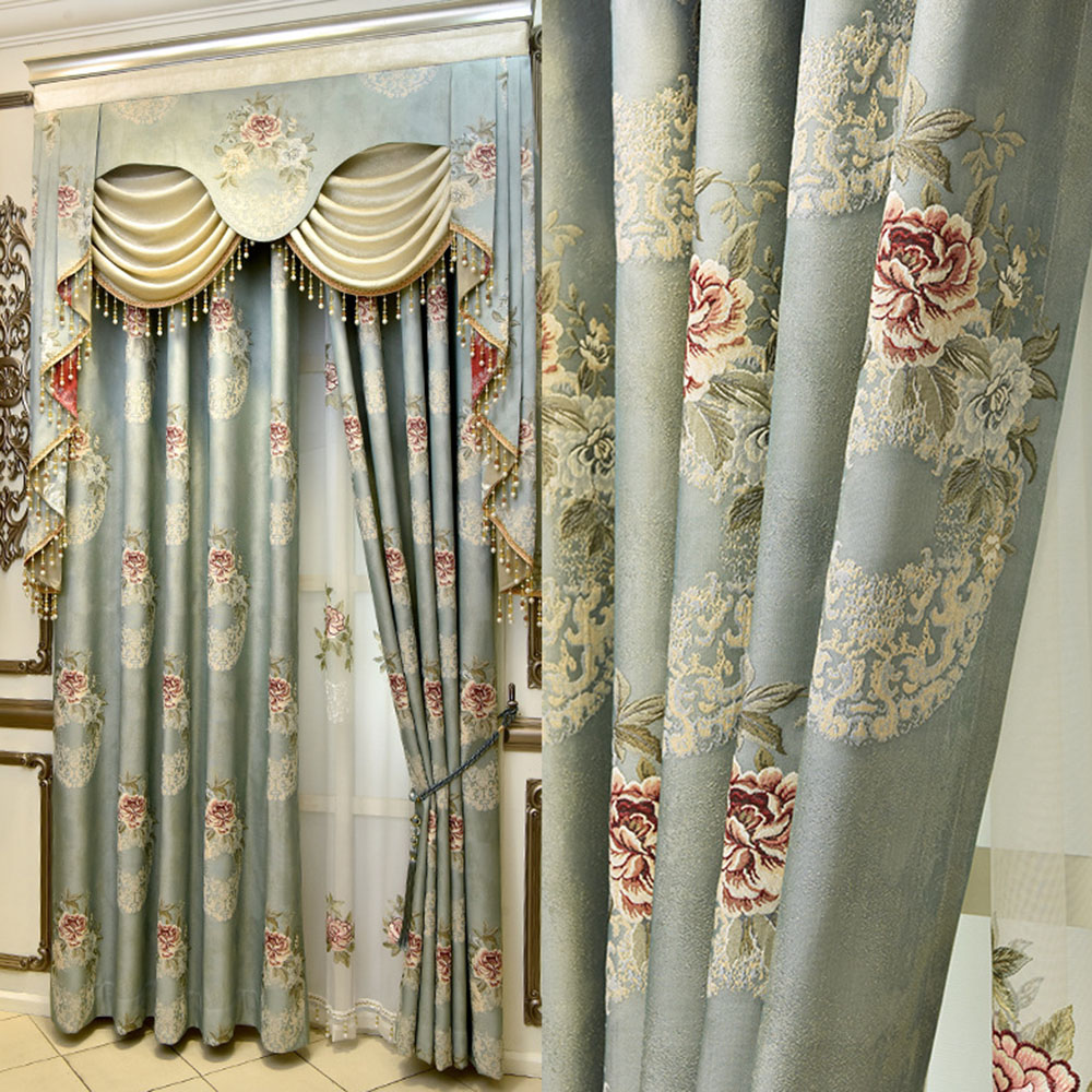 Luxury Jacquard Blackout Grommet Curtains Custom 2 Panels Drapes for Living Room No Pilling No Fading No off-lining