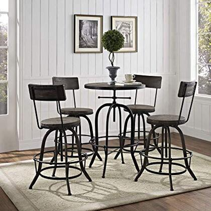 Gather Collection EEI-1608-BLK-SET 5 Piece Bar Dining Set with Adjustable Height  Tapered Legs  Footrest Support  Round Shaped Table  Solid Pine Wood