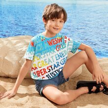 Boys Letter Graphic Colorblock Tee