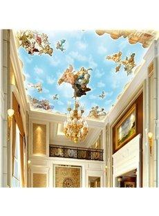 3D Light Blue Angels Pattern PVC Waterproof Sturdy Eco-friendly Self-Adhesive Ceiling Murals
