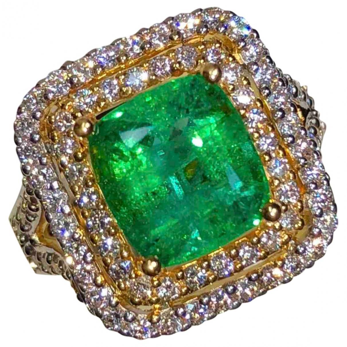 Non Signe / Unsigned Emeraude Ring in Gelbgold