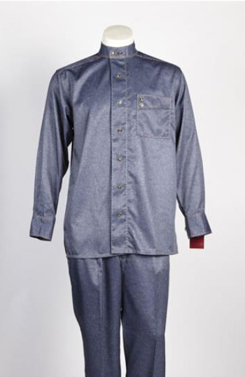 Mens 6 Button Blue Single Breasted Walking Suit