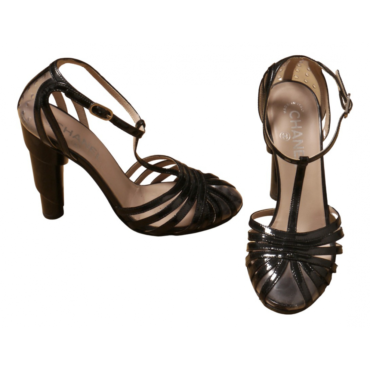 Chanel N Black Patent leather Heels for Women 37.5 EU