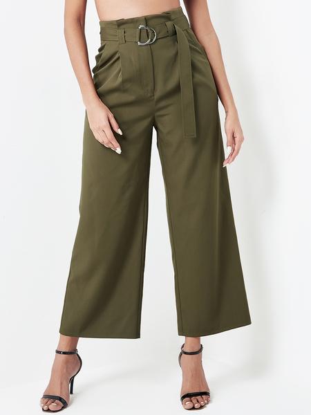 Yoins Army Green Belt Design Wide Leg Tapered Trouser