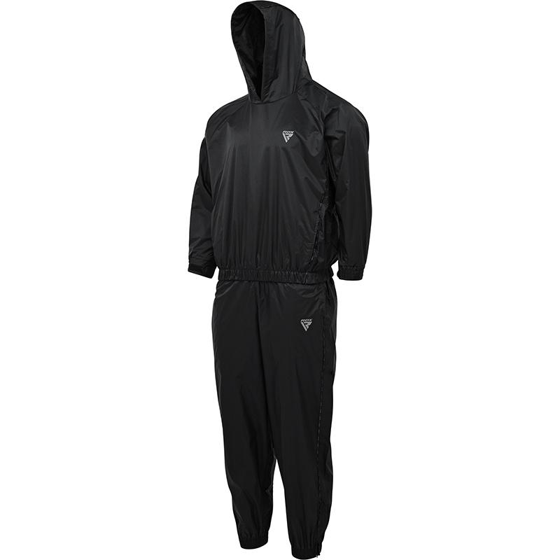 RDX S8 Sweat Sauna Suit Weight Loss Fitness Hoodie Nylon Extra Large Black