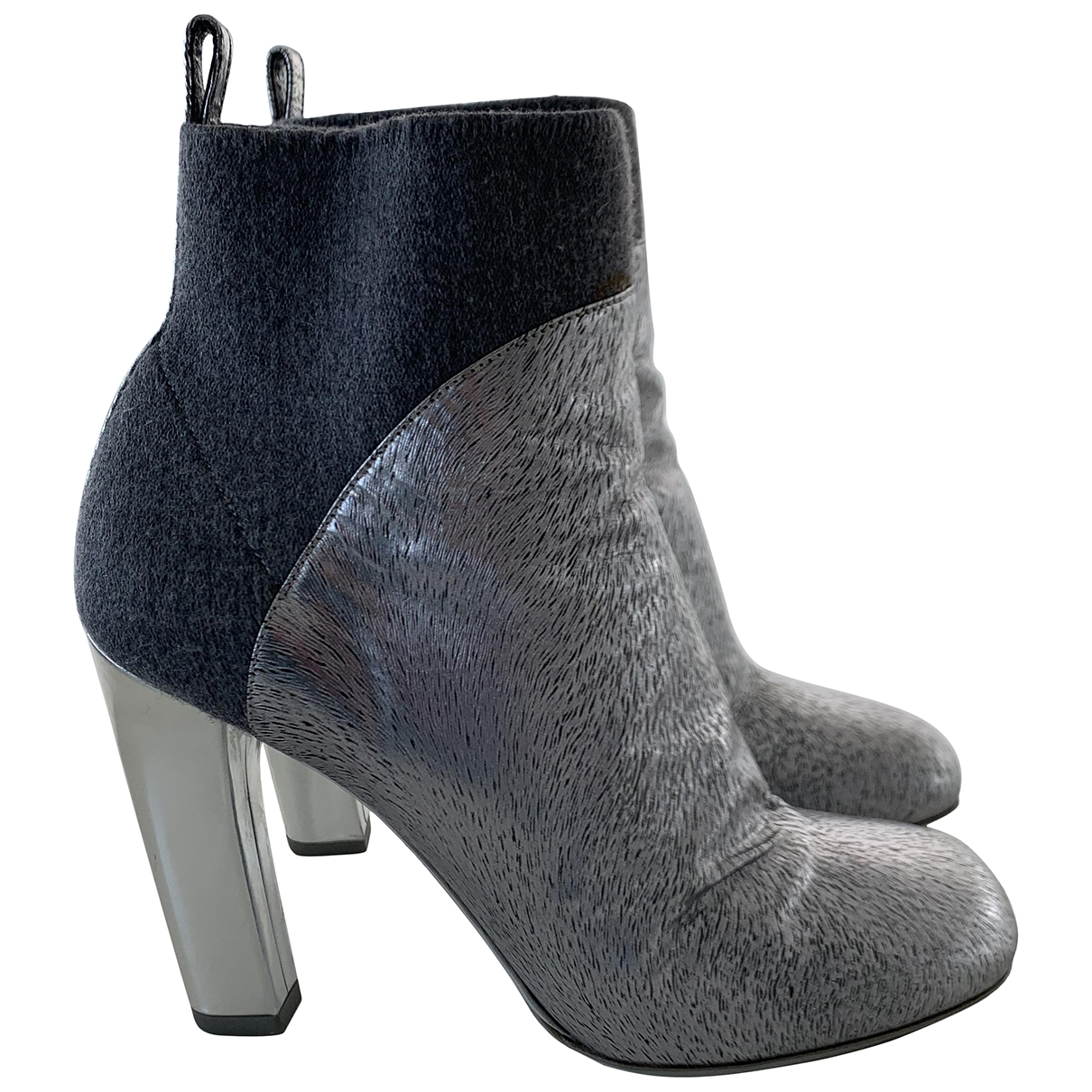 Dries Van Noten \N Silver Leather Ankle boots for Women 38 EU