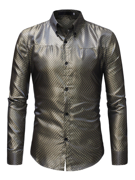 Milanoo Men Formal Shirt Jacquard Patterned Long Sleeve Dress Shirt